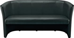 Club sofa - svart - for 3 personer